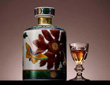 響 35年 古九谷 写し色絵牡丹蝶図筒形瓶